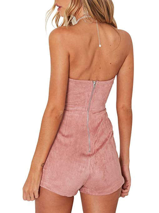 97088130f953 Amazon.com  Simplee Women s Leather Suede Sexy Strapless Jumpsuit Romper  Party Clubwear  Clothing