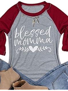 889ced1e197f DUTUT Women 3 4 Sleeve Blessed Momma Letter Heart Print Thankful Day T-Shirt