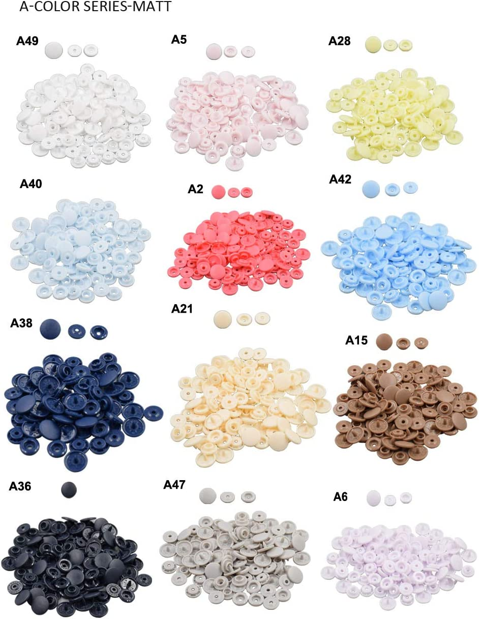 A15 Coffee Plastic Snap Fasteners Size 20 100Sets Snap On Clothing Plastic Snap Button Matte T5 Round for Baby Clothes