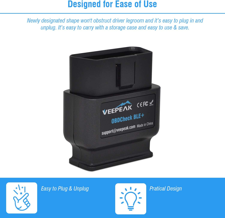Veepeak Obdcheck Ble Bluetooth Obd 2 Diagnosegerät Adapter Stecker Eobd Auto Diagnose Scanner Für Ios Und Android Dual Mode Bluetooth 4 0 Auto
