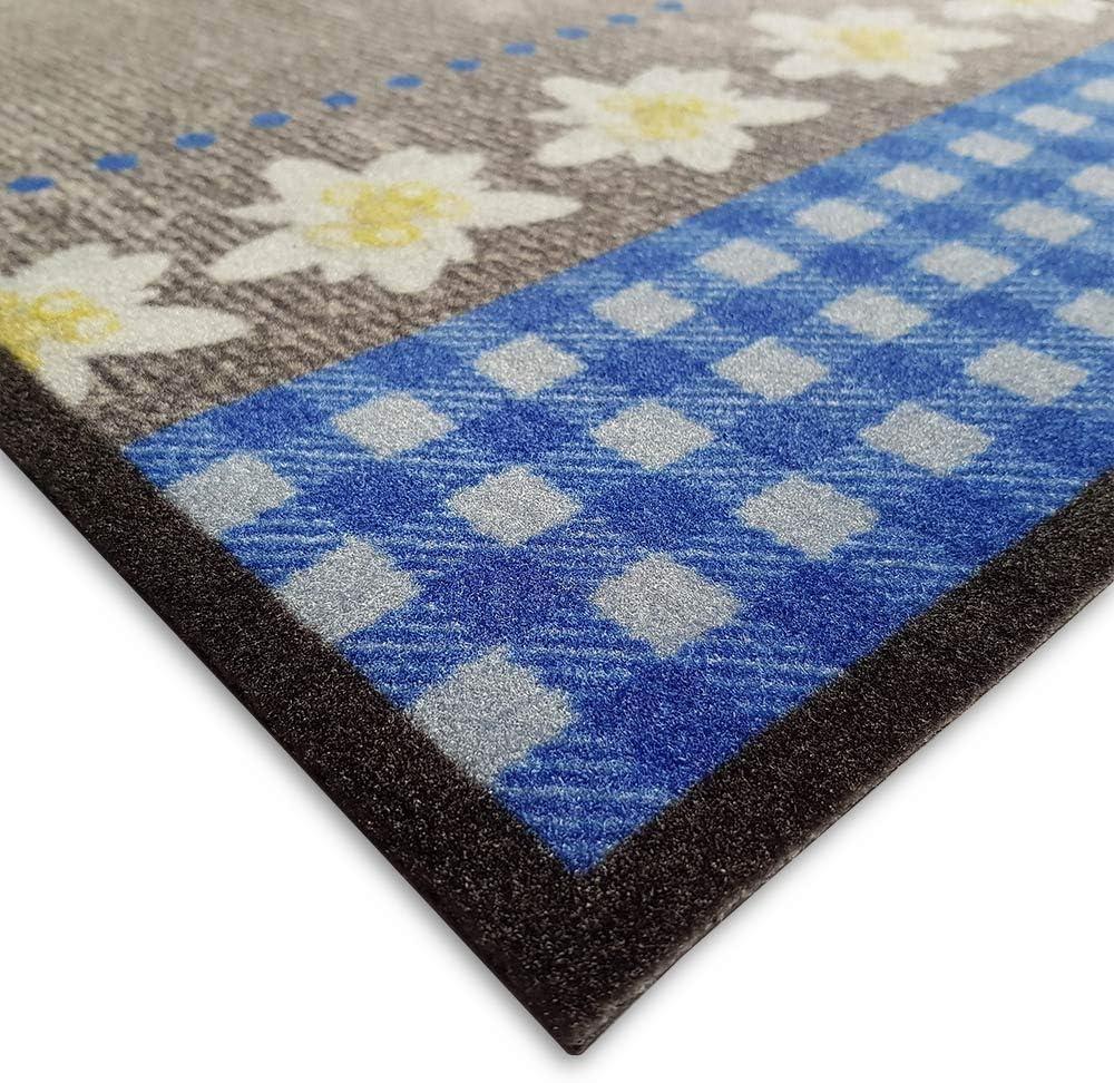 Teppich Boss K/üchenl/äufer Edelwei/ß Herz grau//blau waschbar rutschfest 50x150 cm