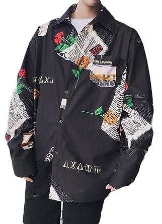 2a05a7065ba Amazon | BSCOOLメンズ シャツ 長袖 ゆったり ワイシャツ ストリート 韓国 ファッション カジュアル 長袖シャツ 春 秋 | シャツ  通販