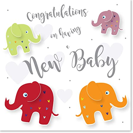 Owls New Baby Card with Silver Foil Text Jonathan Glick Designs 150mm
