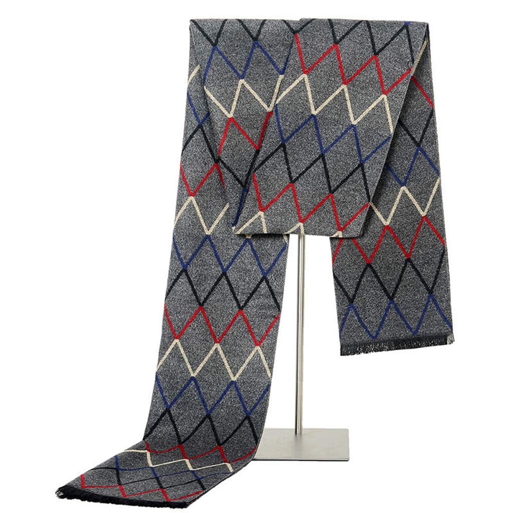 VIVICMW Mens Fashion Winter Scarves Warm Plaid Soft Long Knitted Scarf