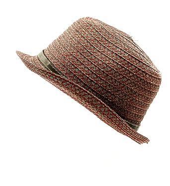 Grevi Men s Paper Fedora Hat in Red   Brown Size Medium at Amazon ... 5857205929c3
