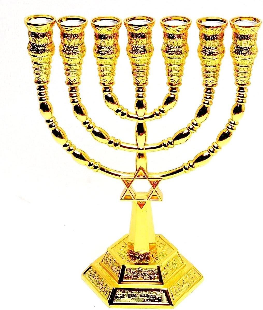 Medium Menorah With Magen David In Gold Plated From Holyland Jerusalem