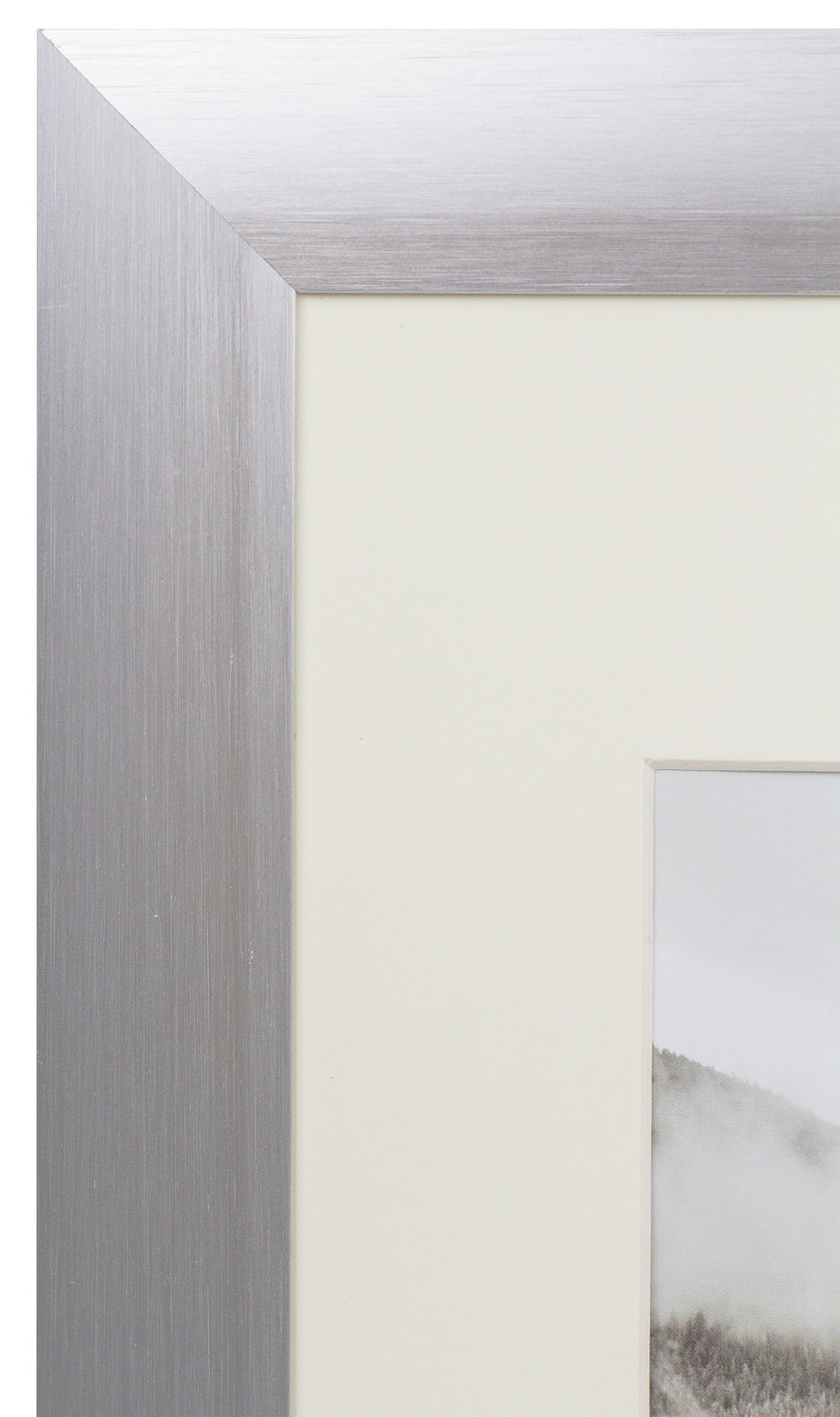 dadce092a91b Golden State Art Satin Silver Color Brushed Aluminum Landscape Or Portrait  Photo Picture Frame With Ivory Color Mat Real Glass (16x20)