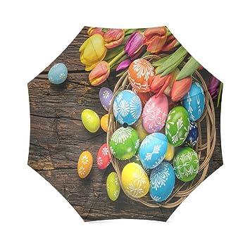 Paraguas plegable y resistente al viento para viajes, ideal para Pascua