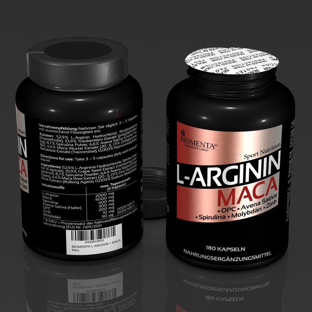 BIOMENTA L-ARGININA Y MACA | premio de la acción!!! | con 2.000 mg L- Arginina + 4.000 mg Maca + OPC + Zinco + Spirulina + Avena Sativa | 180 ...