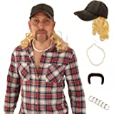 Tiger King Joe Exotic Costume - Country Hick Costume Set - Hat with Blonde Wig - Tiger Mustache - Necklace - Earrings Black