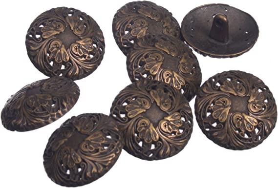 10 Pcs Vintage Round Shank Button Life Tree Carving Sewing Scrapbooking Craft