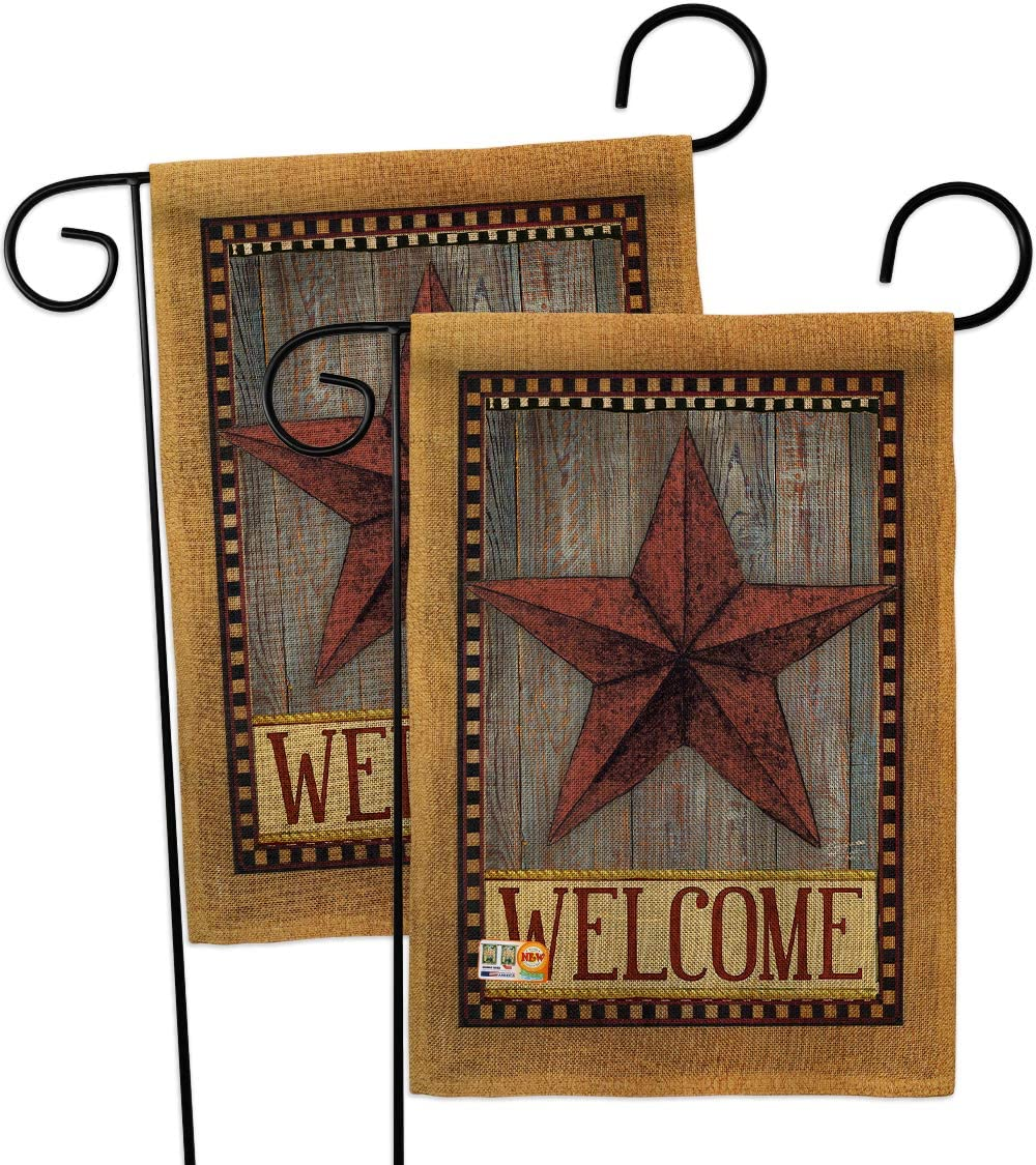 Primitive Welcome Country Barn Star Garden Flags 2pcs Pack Living Farm Western American Rustic Cowboy Rural Ranch Small Decorative Gift Yard House Banner Double-Sided US Made USA 13 X 18.5
