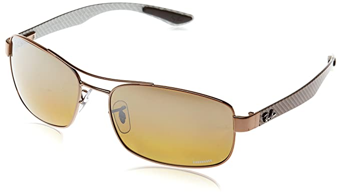 RAYBAN Herren Sonnenbrille RB8318, Braun (Shiny Light Brown/Brownmirgreygradientpolar), 62