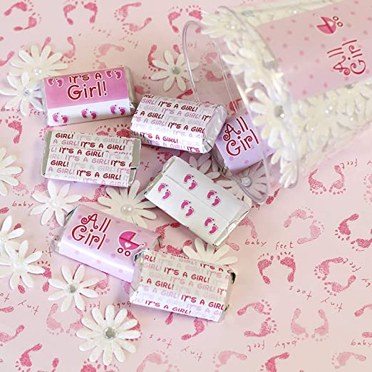 Amazon.com: Its a Girl Baby Shower Mini Candy Bar Wrappers | Pink Footprint Theme | 54 Stickers: Health & Personal Care