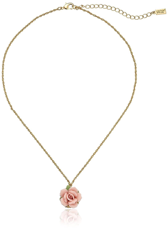 1928 Jewelry Gold-Tone Porcelain Rose Pendant Necklace, 16 16 + 3 Extender 41064