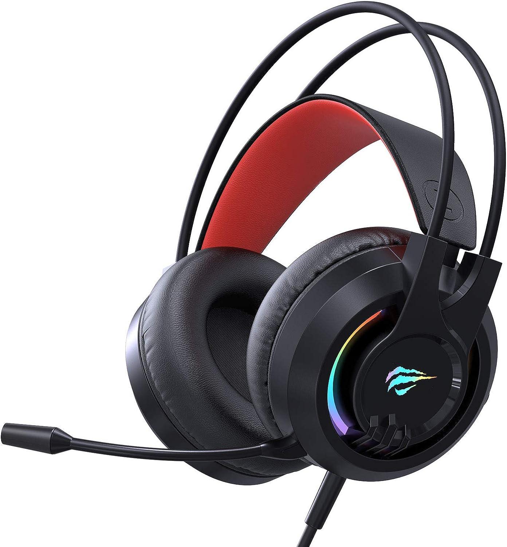 havit Auriculares Gaming PS4 Iluminación RGB Cascos Gaming Sonido Envolvente, Controlador de 50MM y micrófono con reducción de Ruido para Xbox One y PC(2020d,Negro)