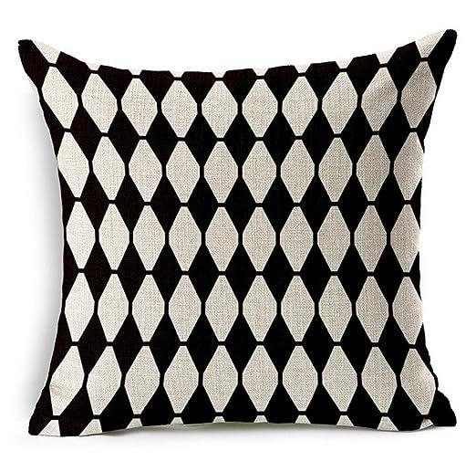 G.T. lino y algodón blanco y negro manta funda de almohada ...