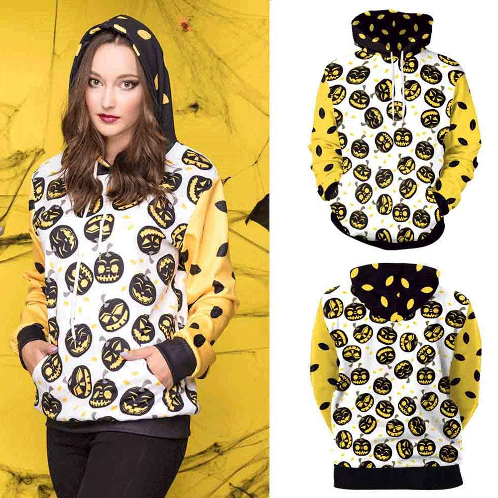Amazon.com: kaifongfu Ladies Halloween Sweater with Long Sleeve Blouse Pumpkin Devil Print Hooded: Clothing