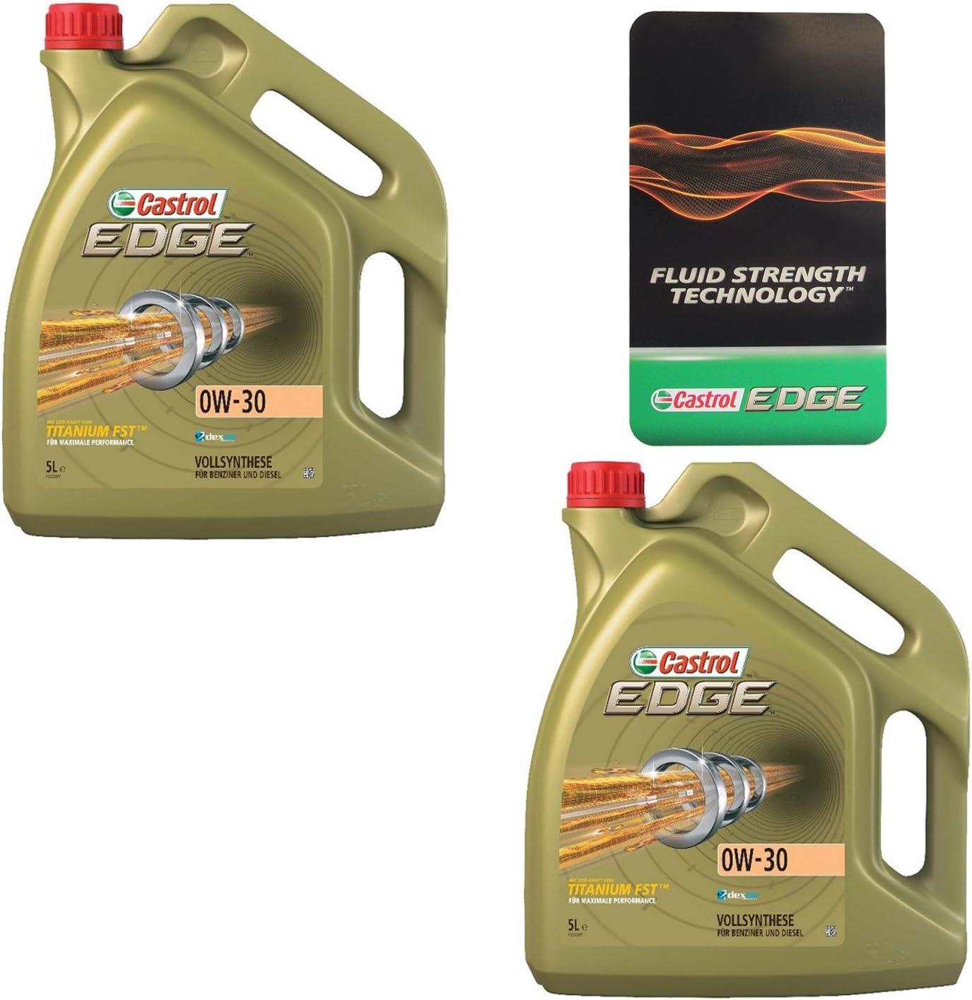 2x 5 L 10 Liter Castrol Edge Fluid Titanium 0w 30 Motoröl Inkl Castrol Ölwechselanhänger Auto