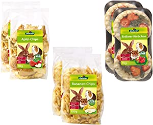 Dehner 2Apple Chips Snack Fruit Mix for Rodents, Banana Chips & Strawberry Basket (490g)