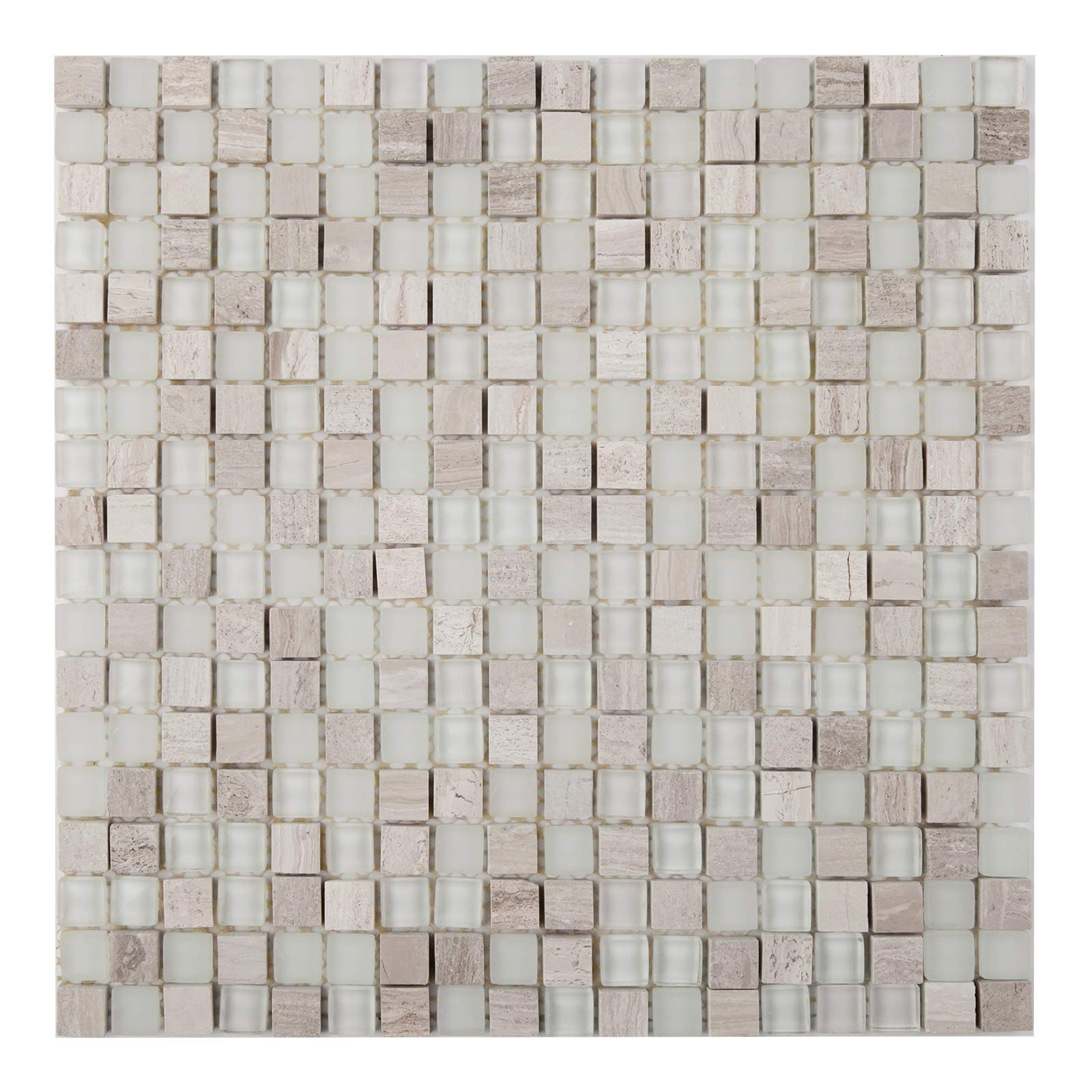 Glass and Stone Mosaic Tile, 15156, 5/8''x5/8'' Square,12''x12''x1/4'' (Box of 5 Sheets)
