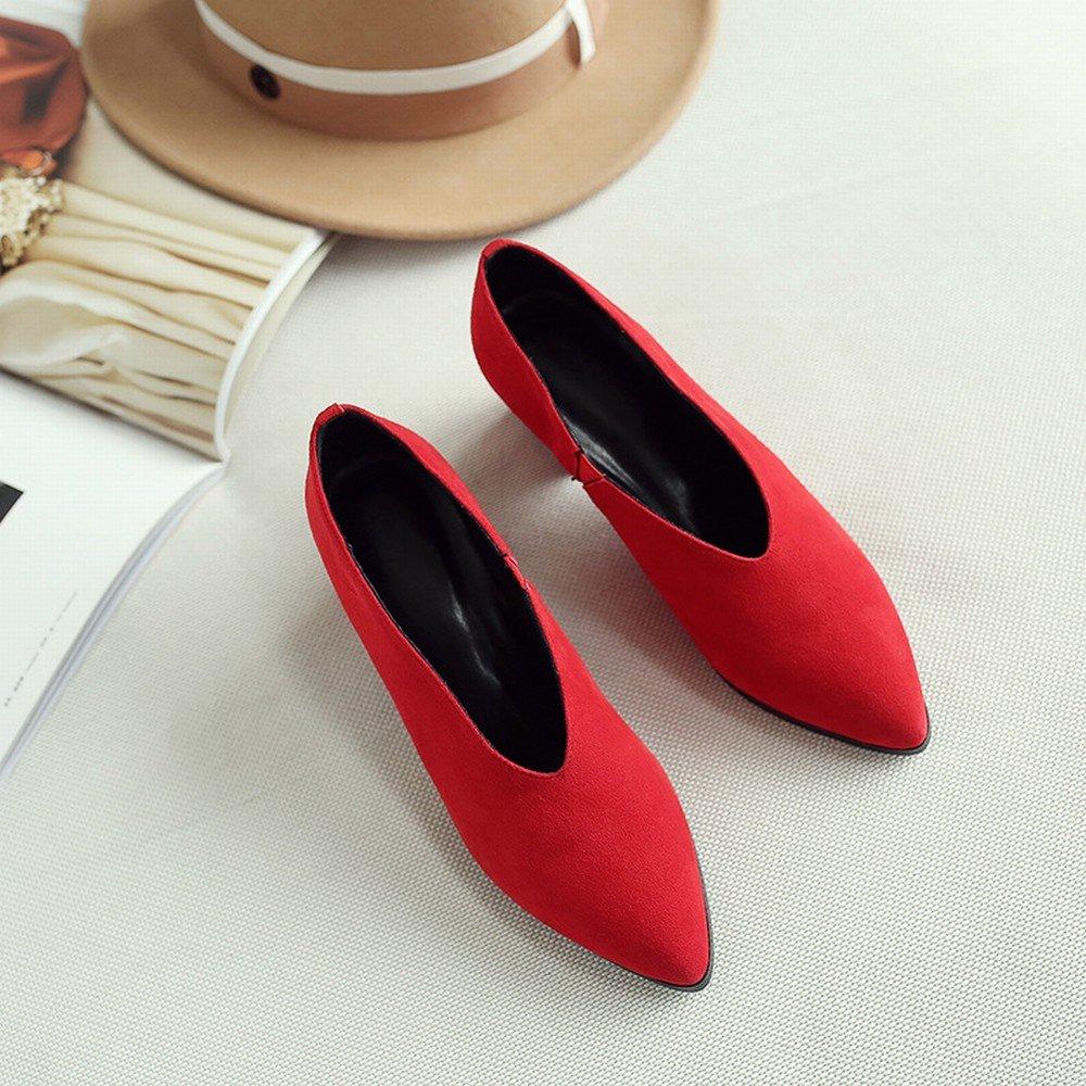 DHG Faule Schuhleder-Schuhfrauen Scheuern des Frühlingsfrühling-Hohen Absatzes Scheuern Schuhleder-Schuhfrauen Raues mit OL-Schuhen Rot 5cm mit 37 8471ed