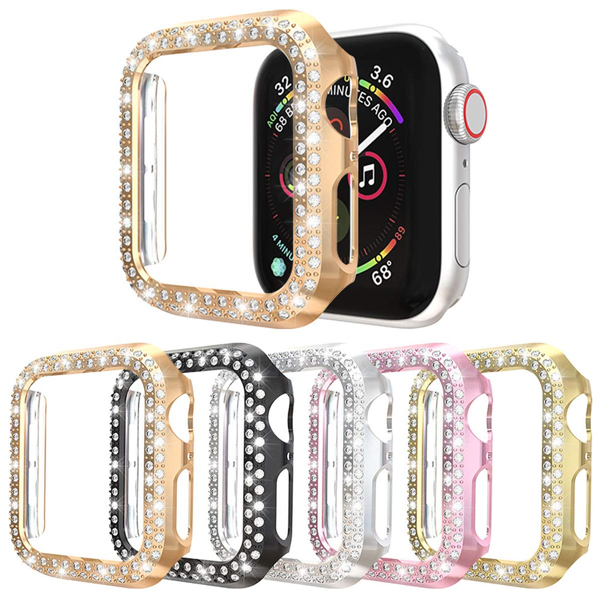 [5-Pack] Case Compatible with Apple Watch Series 4 40mm 44mm Series 3 2 1 38mm 42mm,Double Row Bling Crystal Diamonds PC Plated Cover Protective Bumper (Black+Silver+Pink+Gold+Rose Gold, 44mm) by Richone