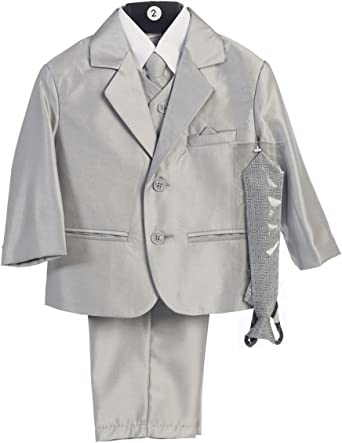 18-24 Months Boys 2-Button Metallic Suit with Vest and 2 Ties Pewter XL