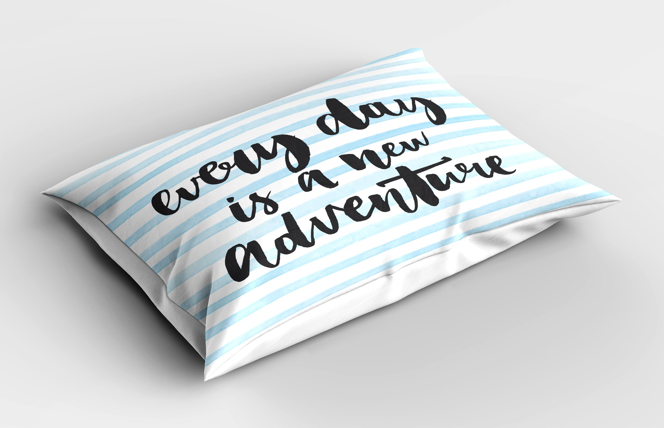 Lunarable Quote Pillow Sham, Everyday is a New Adventure Calligraphy on Striped Background, Decorative Standard Size Printed Pillowcase, 26 X 20 inches, Baby Blue White and Charcoal Grey by Lunarable (Image #2)