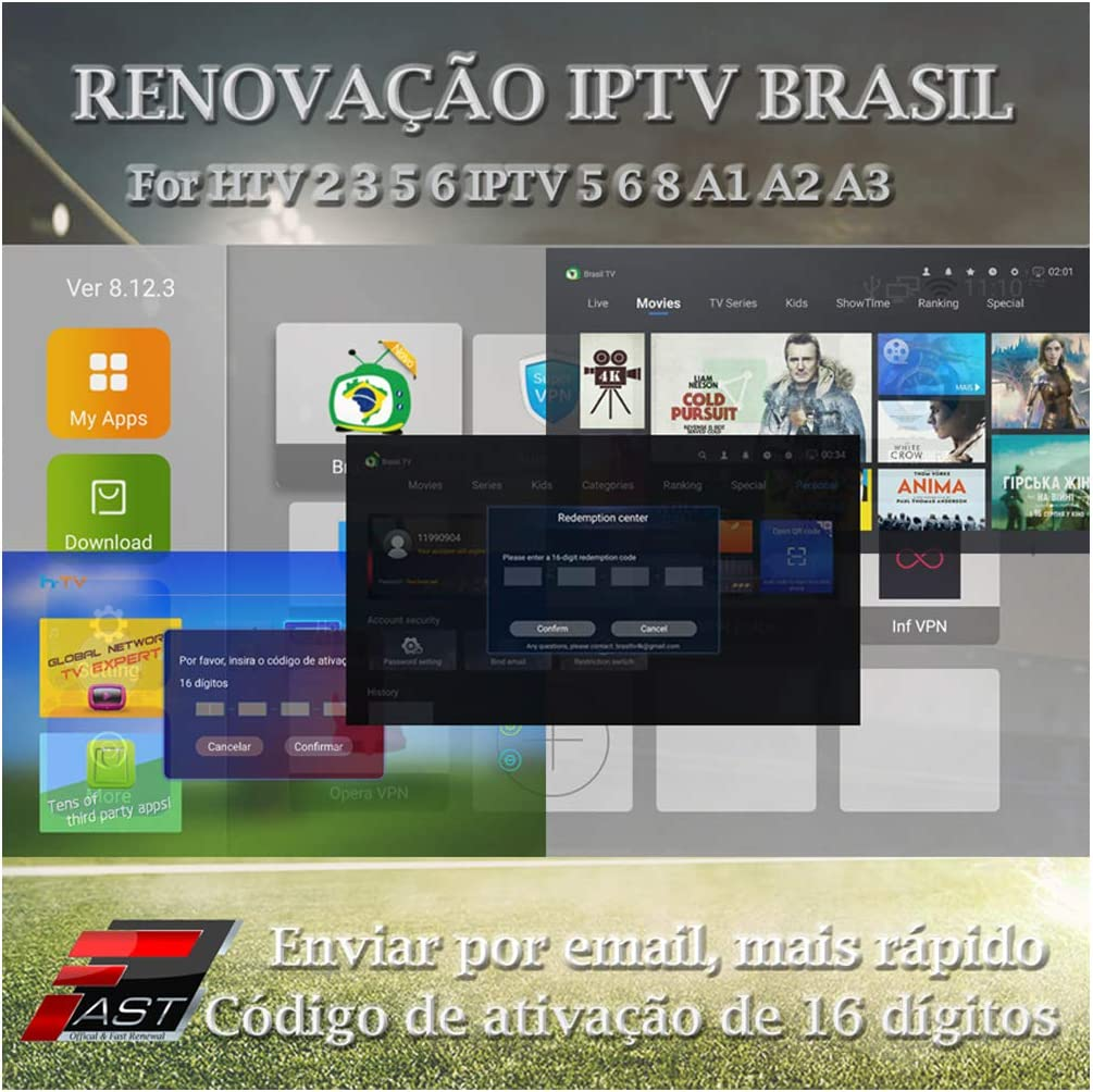 16-Digit Renew Code for HTV 1 2 3 5 / A2 / A1 / IPTV 5 6 / IPTV5+Plus IPTV Brazil/Brazilian Renewal/Portuguese TV Box Subscription Service Valid for 12 Months