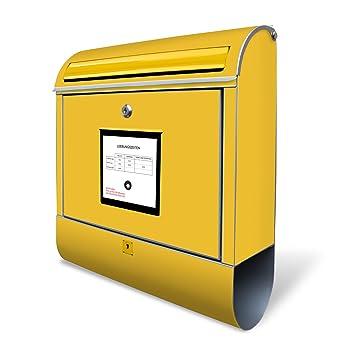 Banjado Design Briefkasten Mit Motiv Briefkasten Gelb Stahl