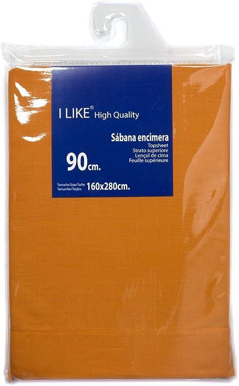 I LIKE® Sabana ENCIMERA Naranja 100% ALGODÓN Cama 90 (160 X 280 cm): Amazon.es: Hogar