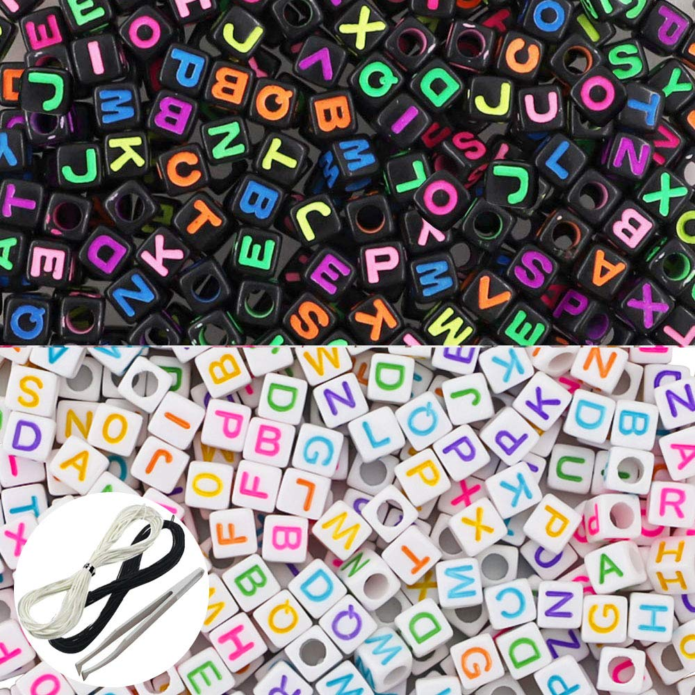 1 Black Cord and 1 White Cord for Jewelry Making Kids DIY Necklace Bracelet JPSOR 1000 Pcs 2 Color Acrylic Alphabet Letter Beads with 1 Pair of Tweezers