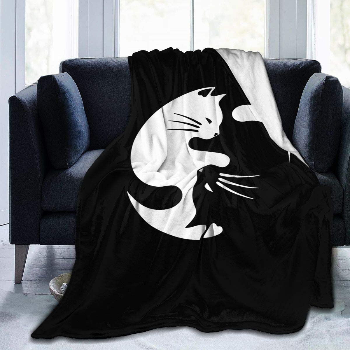 Shichangwei Cat Ying Yang Sherpa Bed Blanket Plush Throw Blanket Fleece Blanket for Bed and Couch