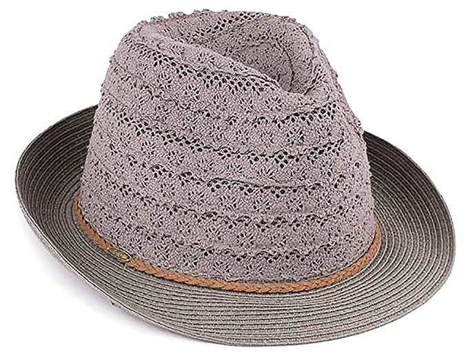94eab552 H-6040-21 Crushable Packable Summer Sun Hat Eyelet Lace Fabric Fedora - Grey