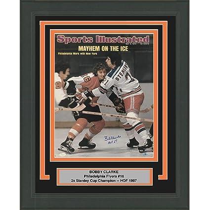 0f0371cae Framed Autographed/Signed Bobby Bob Clarke HOF 87 SI Philadelphia Flyers  16x20 Hockey Photo JSA COA at Amazon's Sports Collectibles Store