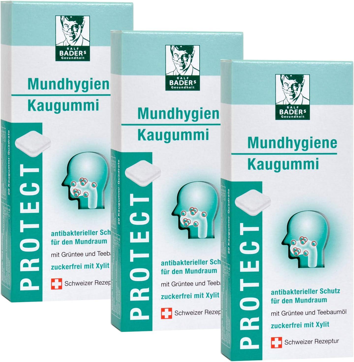 BADERs de la farmacia. Los chicles de higiene bucal. Protección antibacteriana para la boca con aceite de árbol de té, té verde y xilitol. 3 x 20 cuadrados de goma de mascar