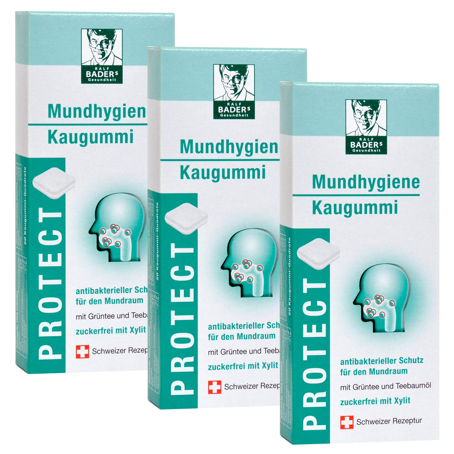 BADERs Protect Mundhygiene from The Pharmacy. Oral Hygiene Chewing Gum with Tea Tree Oil, Green Tea, and xylitol.
