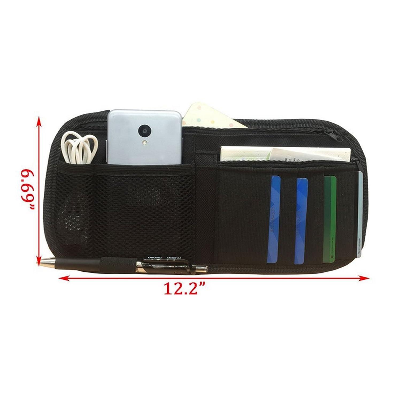 Ruesious Organisateur de pare-soleil de voiture support dassurance de document et denregistrement organisateur multifonctionnel automatique daccessoires dint/érieur noir
