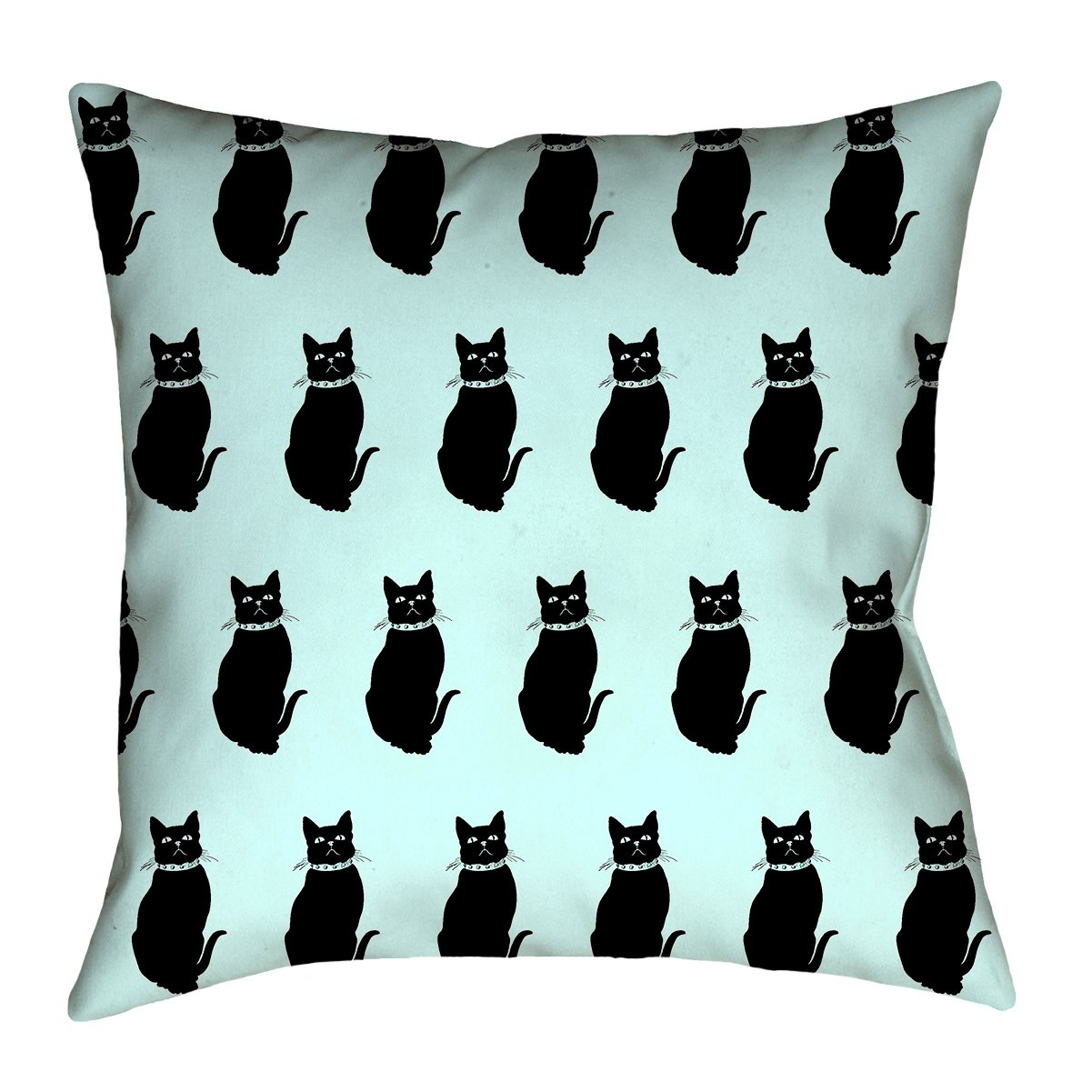 ArtVerse Katelyn Smith 16 x 16 Spun Polyester Double Sided Print with Concealed Zipper /& Insert Blue Cat Pattern Pillow