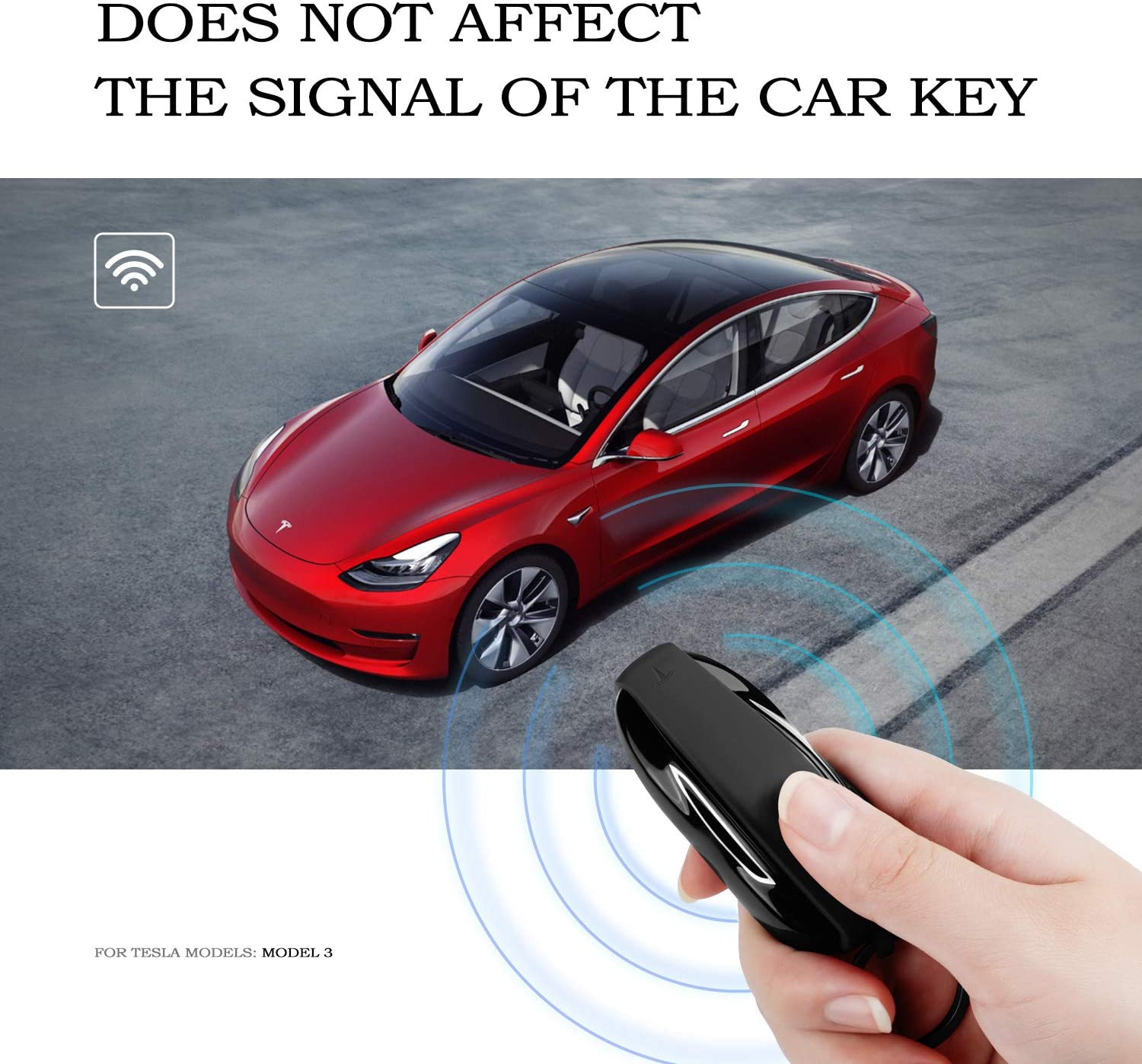 OLAIKE Key Fob Cover for Tesla Model X Red, Model X Silicone Car Keychain Key Cover Protector Case Holder with Key Chain for Tesla Model X Accessories
