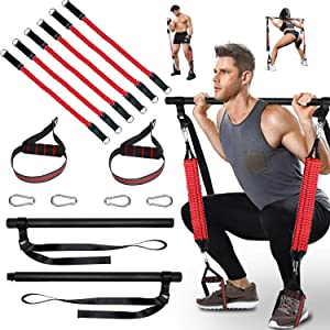 Omotor Portable Pilates Bar Kit with Anti-Breakage Adjustable Resistance Band, Foot Loop, 120-180 LBS Home Gym Workout Exercise Bars for Total Body Workout Stretching and Twisting