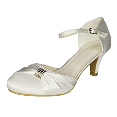 3f9f3676a3 Ladies Ivory Satin Low Heel Shoes Wedding Mary Jane Ankle Strap Closed  Bridal[UK 3