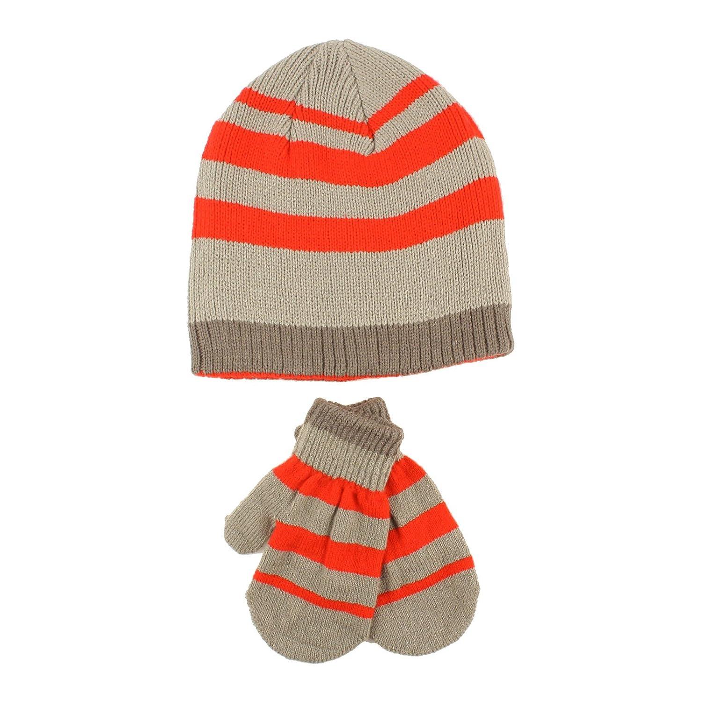 Winter 2pc Stripe Soft Baby Boys Age 0-2 Knit Beanie Hat Mitten Gloves Set SK-Hat-Shop