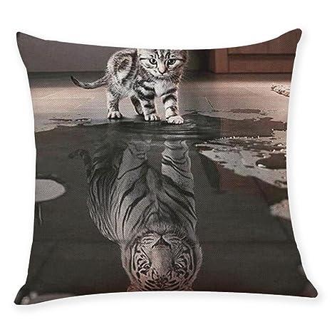 LONUPAZZ funda de cojín gato de tigre Animal impreso funda ...