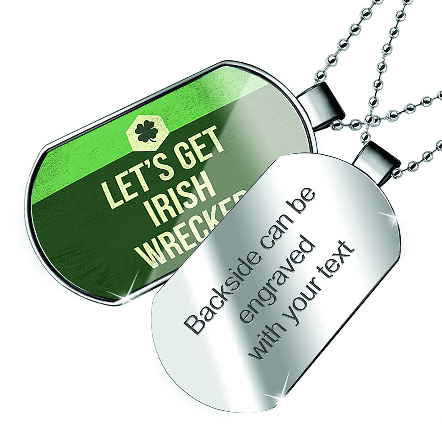 Patricks Day Vintage Four Leaf Clover Dogtag Necklace NEONBLOND Personalized Name Engraved Lets Get Irish Wrecked St