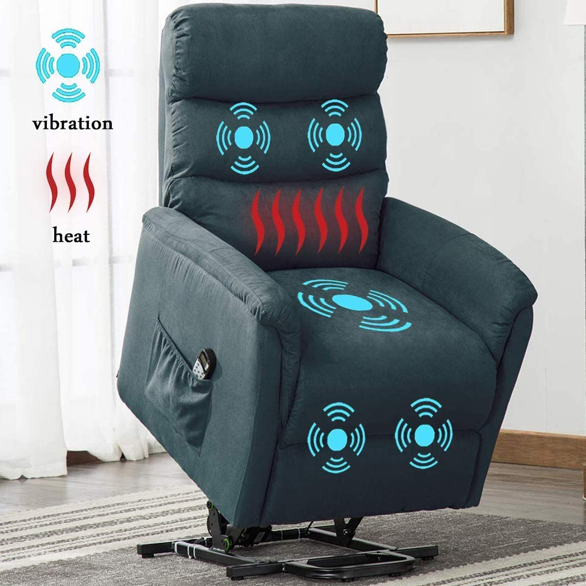 Bonzy Home Remote Control Recliner Chair with Massage Heat and Vibration- Electric Powered Lift Recliner Chair – Home Theater Seating – Bedroom Living Room Chair Recliner Sofa for Elderly Blue