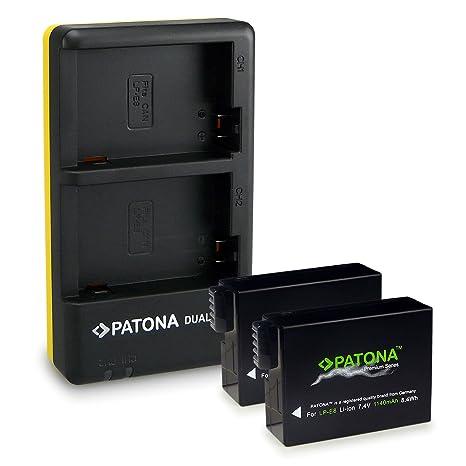 PATONA Dual Cargador LP-E8 + 2x Premium Batería para Canon EOS 550D | 600D | 700D con micro USB