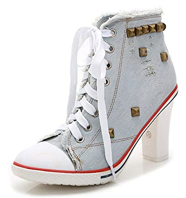 dadd07d38bd5a Amazon.com   Bangfox Women's Rivet Canvas Round Toe Lace Up Sneakers Chunky  Heel Fashion Ankle Boots LG blue36 M EU / 6 B(M) US find   Ankle & Bootie