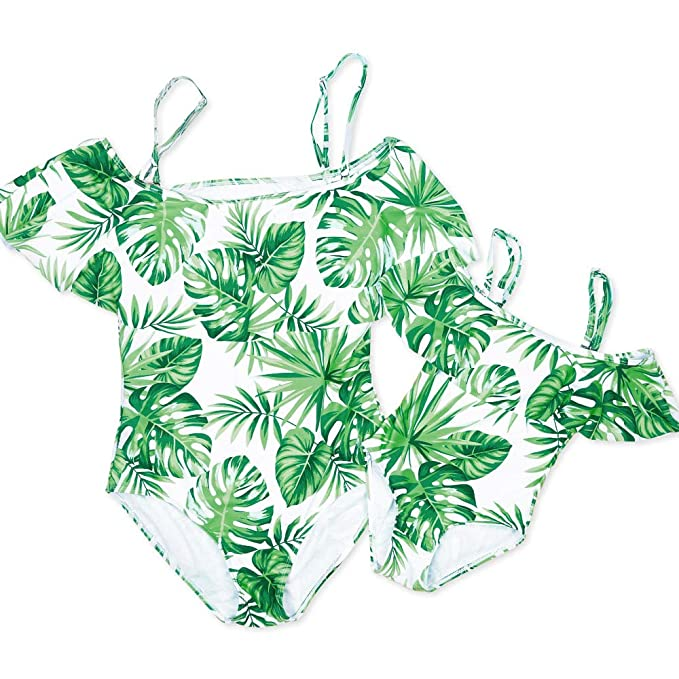baf547dafab37 Yaffi PatPat Mommy and Me One-Piece Swimsuit Tropical Printed Ruffled  Beachwear for Women Girls at Amazon Women's Clothing store: